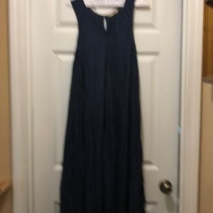 Soft Surroundings navy blue crinkle maxi dress